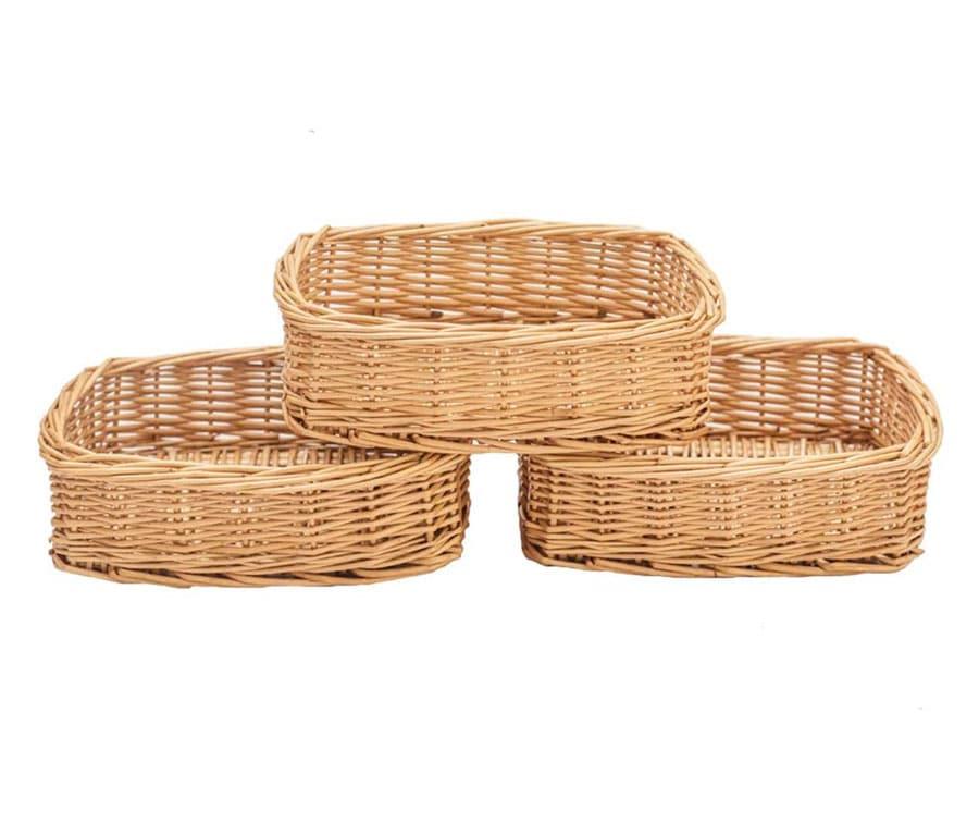 HDKJ Rectangle Small Wicker Baskets for Sundries 3pcs Storage Bins (Natural, 3PCS)