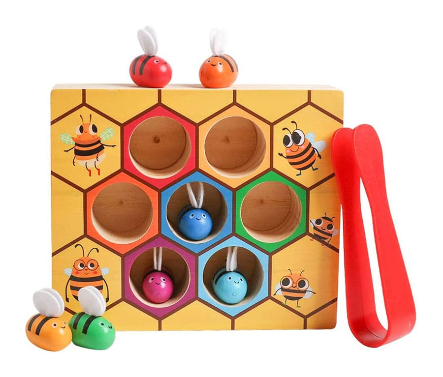 JCREN Montessori Wooden Toys for Toddlers,Fine Motor Skill Clamp Bee to Hive Matching Game Color Sorting Puzzles Preschool Learning Educational Developmental Gift for Boys Girls Babies