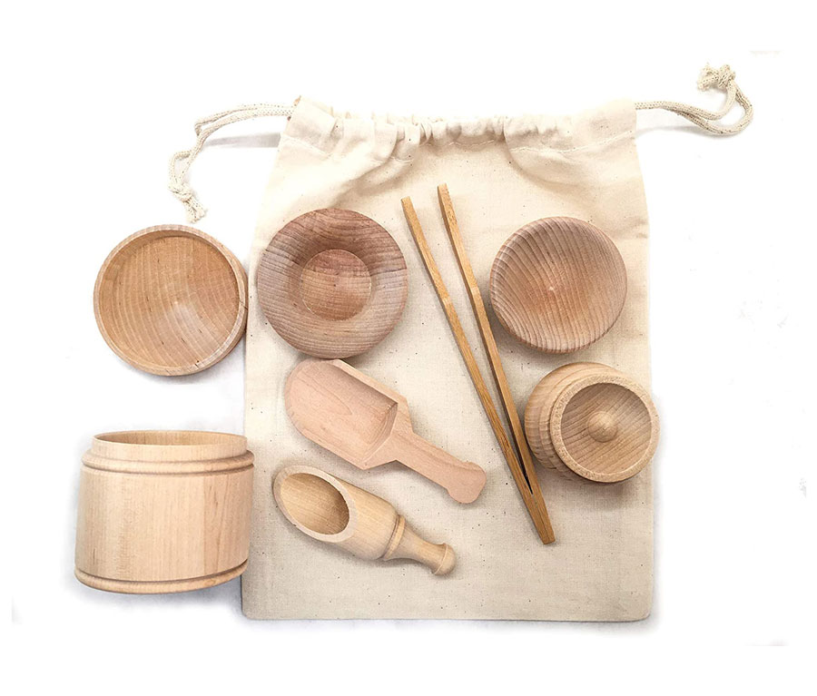 Wooden Scoops and Tongs for Transfer Work and Fine Motor Learning