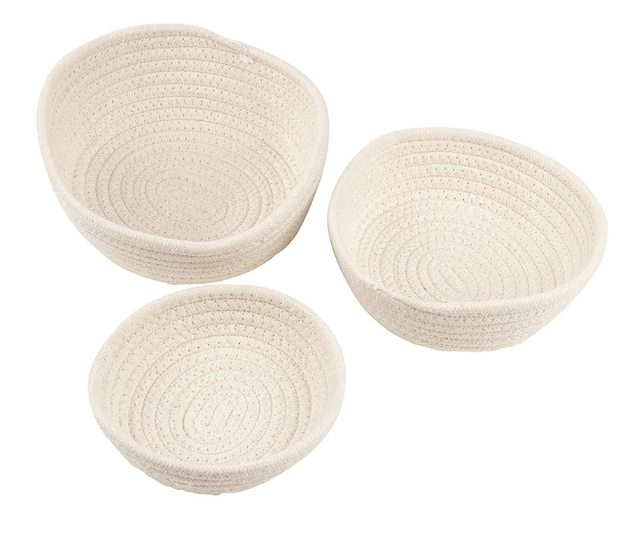 Woven Storage Baskets – 3-Pack Cotton Rope Baskets, Decorative Hampers, Collapsible Rope Storage Bins for Toys, Towels, Blankets, Nursery, Kids Room, 3 Sizes, White